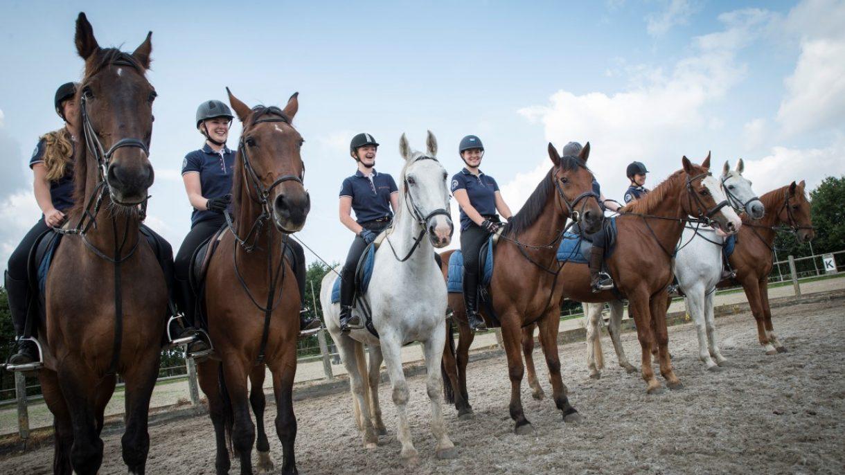 Groep studenten te paard