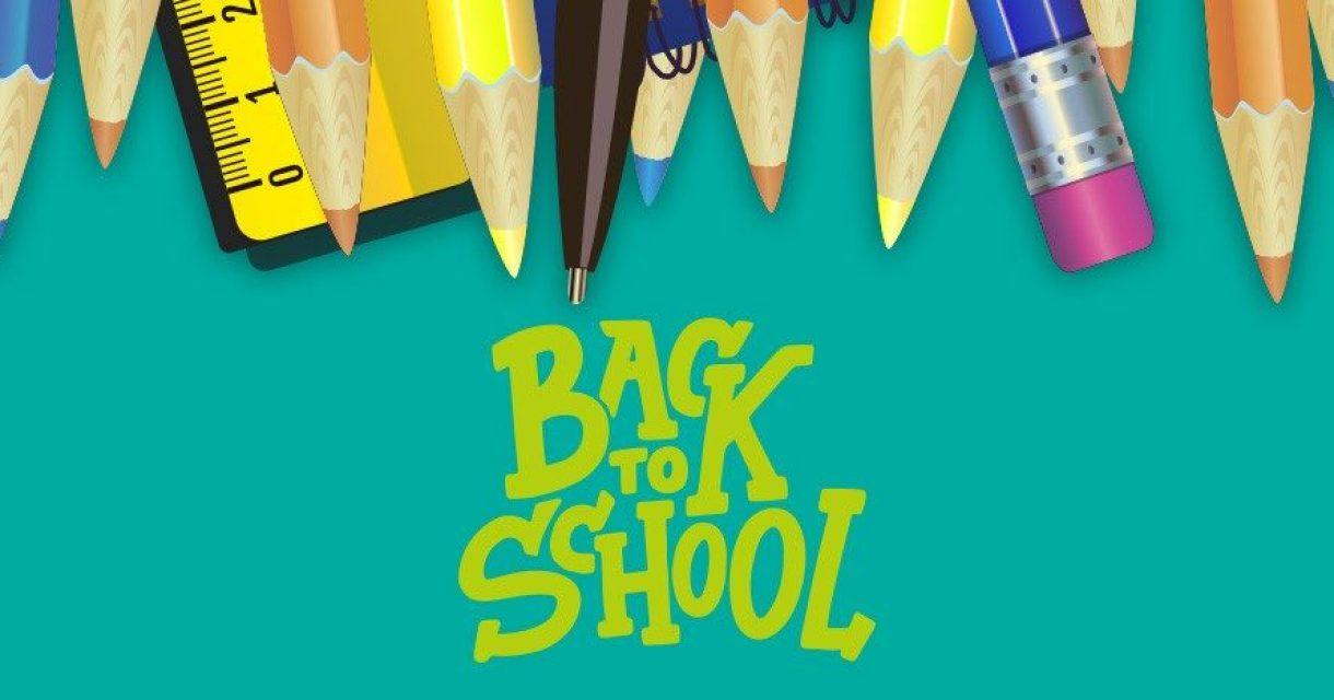 afbeelding met potloden en tekst back 2 school
