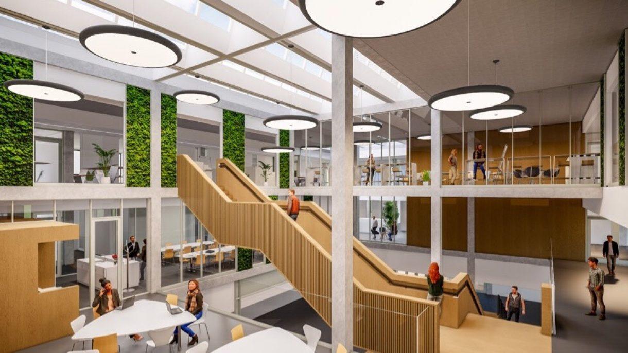 Sfeerimpressie interieur beroepencampus, lichte open ruimte met hout en groen
