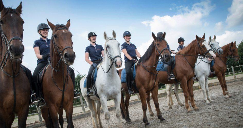 Studenten opleiding paardensport poseren op de paarden